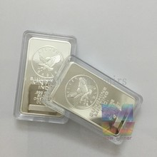 100/lot Free shipping One Troy Ounce .999 Fine Silver Plated Sunshine Eagle Bullion Bar,American Eagle Silver Clad Bar/Ingot