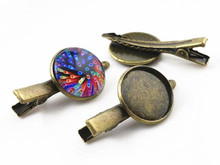 20mm 10pcs High Quality Bronze Plated Copper Material Hairpin Hair Clips Hairpin Base Setting Cabochon Cameo  J5-08