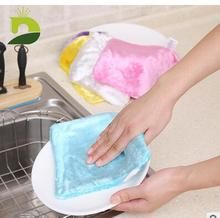 wood fiber dish cloth, double thick natural decontamination detergent 17x15cm disposable oil cloth(China)