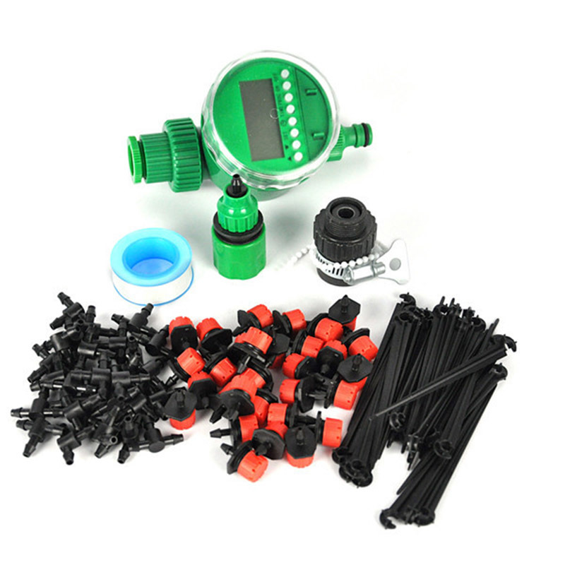 25m DIY Micro Drip Irrigation System Plant Automatic Self Watering Garden Hose Kits with Timer +30x Adjustable Dripper<br>