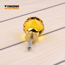 2017 Hot sale 10PCs/Set Furniture Hardware Tools Yellow Crystal 30mm Ball Shape Pull Cupboard Cabinet Drawer Door Handle Knob
