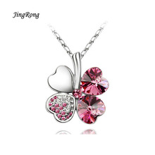 2017 JingRong Brand Jewelry Necklace Female Christmas Gifts Clovers Heart necklace lucky Grass Clover Crystal Fashion Jewelry