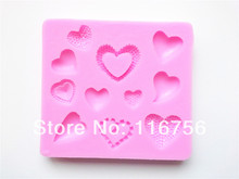 Free Shipping Fondant Cake 11-Cavity Heart Silicone Mold Sugar Paste Sugar Art Tools Cake Decoration Wholesale & Retail