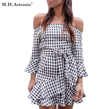 Buy M.H.Artemis shoulder ruffle plaid dress Elegant flare sleeve bow belt short dress party dress vestidos Casual sexy dress for $15.35 in AliExpress store