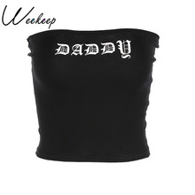 Weekeep Women Sexy Sheath Tube Top Black Gothic Letter Print Cropped Bandeau Knitted Cotton Boob Tube Crop Top Bras For Women