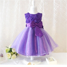 Kids Party Prom Gown Dresses 2017 Rose Flower Girl Tutu Dress For Wedding Baby Girls Kids Baptism Clothing For Children Clothes