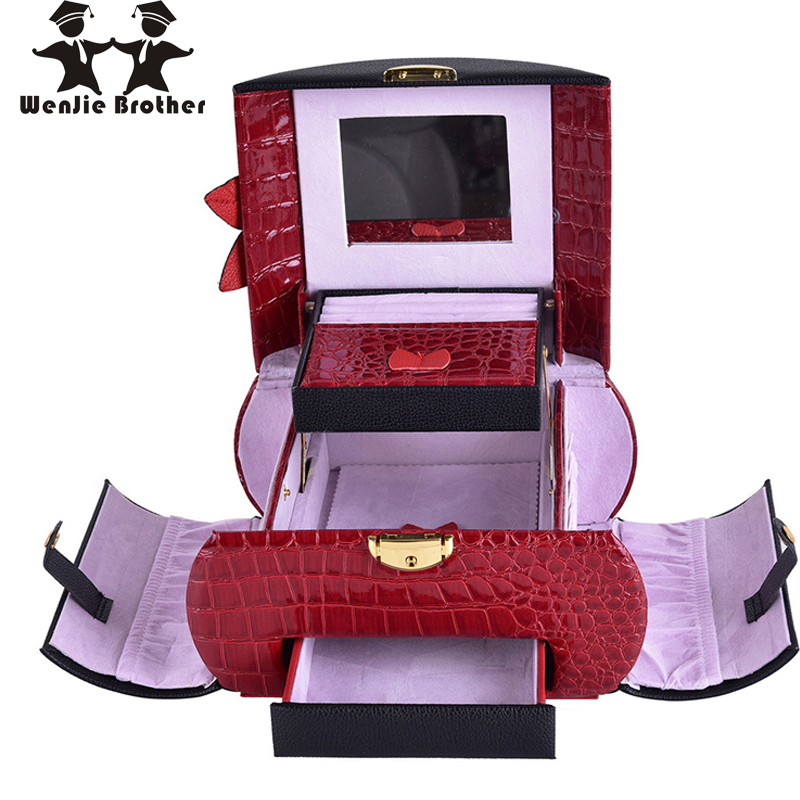 wenjie brother good looking 6 color to choose Make up Box Makeup Case Beauty Case Cosmetic Bag Multi Tiers Lockable Jewelry Box<br>