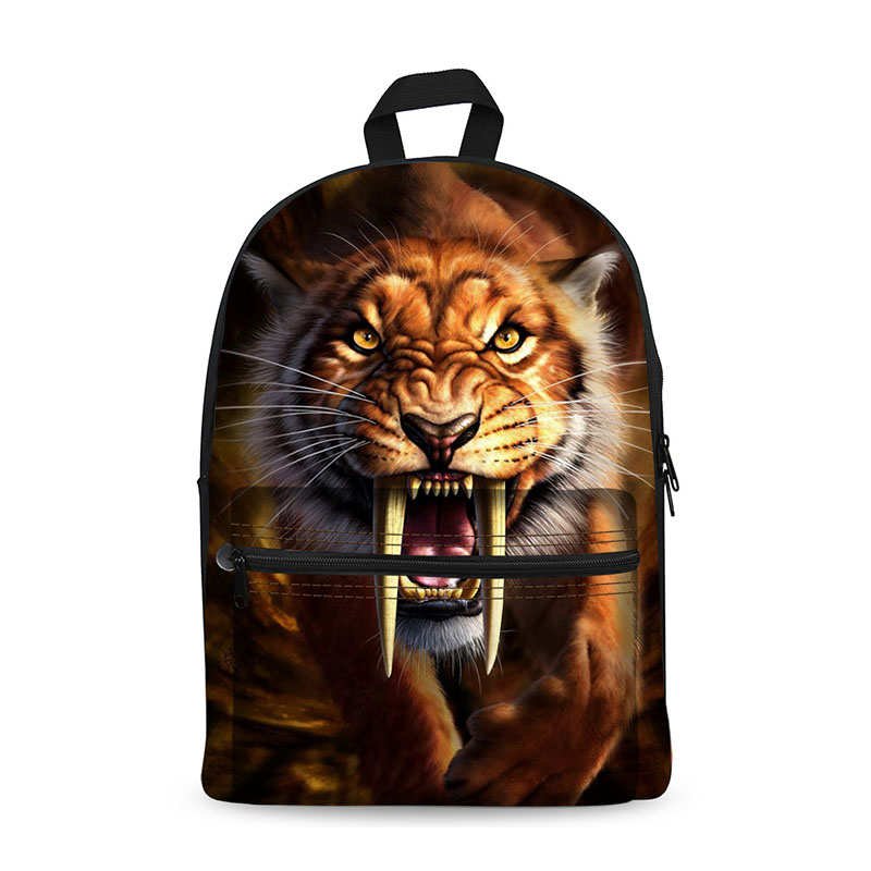 Novelty backpack women for teenage boys school backpack male&amp; feminine mochila,Ferocious animals printing fashion backpacks bags<br>