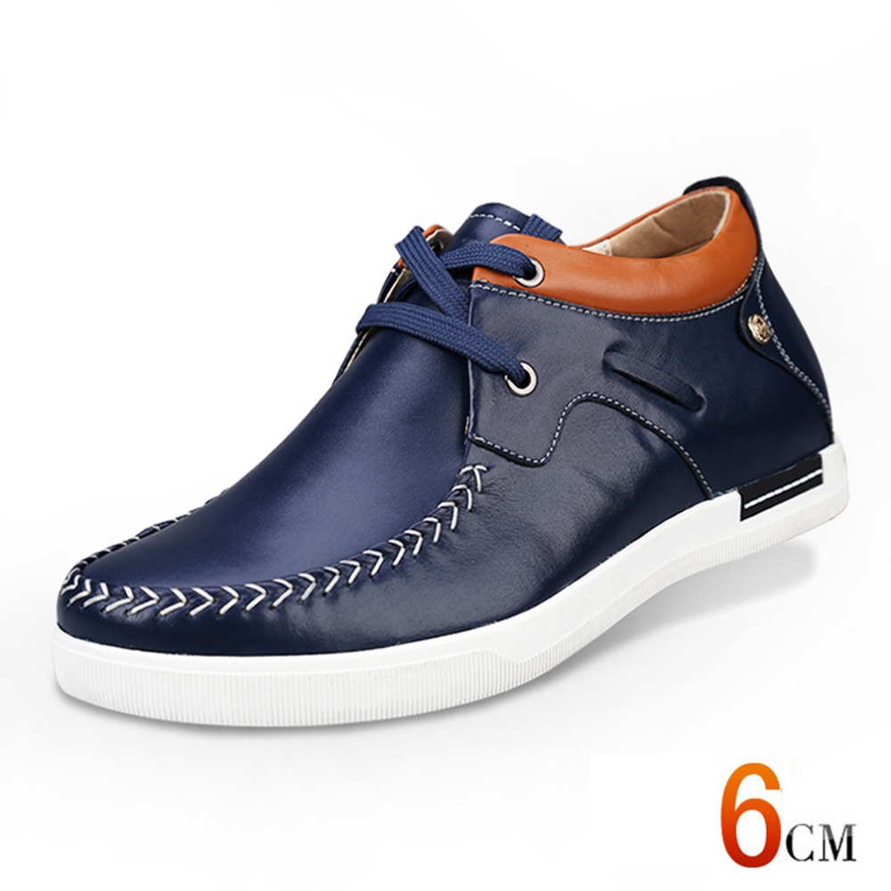 Men 2016 New Fashion Flat Derby Shoes Genuine Leather  Increase Height  Shoes for Man Taller  2.36 Inches D8736-1<br><br>Aliexpress