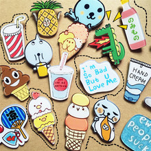 1 PCS Free Shipping Cute Cartoon Ice Drink Cream Acrylic Brooch Clothing Backpack Accessories Badges Decoration Pins Brooches(China)