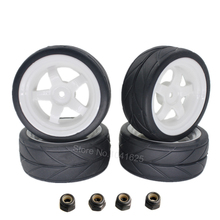4Pcs 26mm Rubber RC Tyres & Wheel Rims Hex 12 For 1:10th HSP HPI Sprint 2 Drift RS4 On Road Cars 4WD