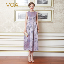 2017 VOA Pure Color Silk Sleeveless Silk Dress High-End Silk European Temperament Slim OL Mulberry Silk Dress A6707