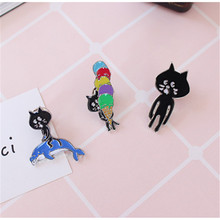 free shipping fashion women New Jewelry wholesale Black cat with chest brooch Small pin set