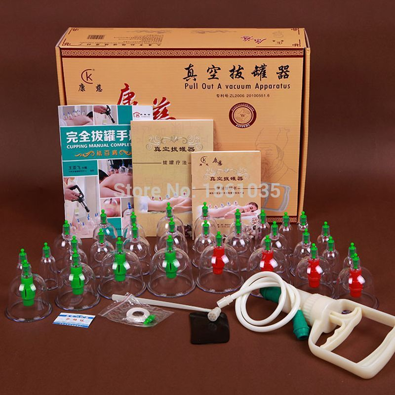 24 Cups Chinese Massage Treatment Relaxation Pull out A Vacuum Apparatus Vacuum Cutem Magentic Cupping Set Device For Health<br>