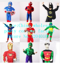 Cosplay Kids Deluxe Muscle Christmas Superman Halloween Costume for children boys kids superhero Hulk Batman iron Man cosplay