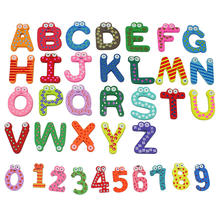 36x Colorful Cartoon Design Wooden Letters Numbers Refrigerator Fridge Magnets Teaching Alphabet Kids Toys