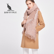 SAN VITALE Women Shawls Winter Warm Scarf Luxury Brand Soft Fashion Thicken Plaid Wraps Wool Cashmere Capes Scarves for Women(China)