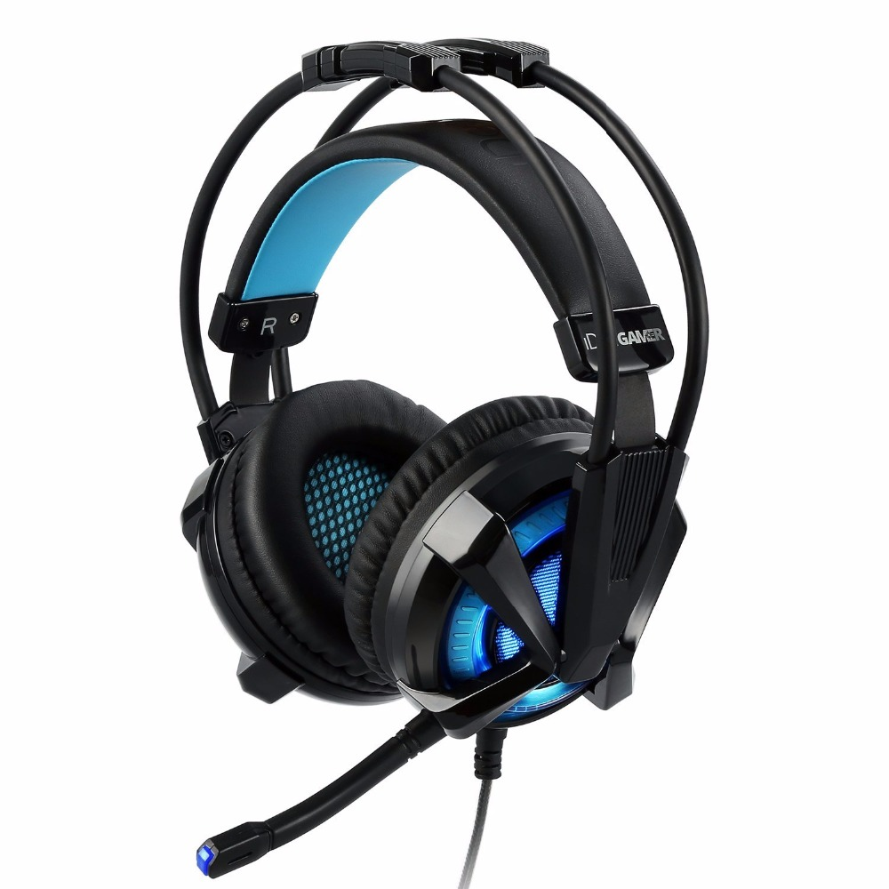 iDeaUSA S409 Virtual 7.1 Surround Sound USB Gaming Headphone Noise Cancelling Over Ear Gamer Headset Vibration Vol Control LED<br>