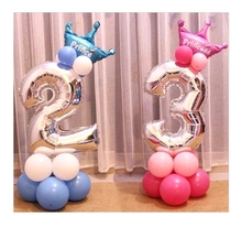 26pcs/set Number Crown Foil Balloons 40 Inch Digital Inflatable Balloon Kids Toy Birthday Party Road Lead Baby Shower Decoration(China)