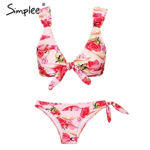 Buy Simplee Summer style print lingerie set intimates Bow tie sexy underwear women Elastic 2018 beach backless bra set two piece