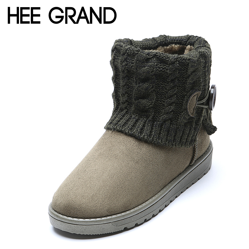 HEE GRAND Knitting Winter Snow Boots Women Warm Ankle Boots Shoes Woman Slip On Boot For Ladies Flats Size Plus 35-41 XWX2851<br><br>Aliexpress