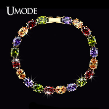 UMODE New Rose Gold Color Female Bracelet for Women Colorful Charm Oval Cubic Zircon Strand Bracelet & Bangle UB0011