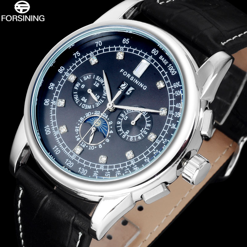 FORSINING Luxury Brand Fashion Design Men Watch Casual Auto Mechanical Relogio Silver Black Dial Watch Genuine Leather Clock<br>