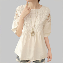 Buy Blusas Crochet Hollow Lace Women Blouses Summer Casual Loose Cute Patchwork White Shirt Women Tops 2017 M-2XL A272 for $9.98 in AliExpress store