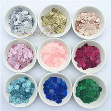 600pcs 10mm Sequins with Flash powder,1cm PVC glitter sequin Paillette sewing craft with 1 side hole New Accessories for Garment(China)