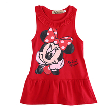 2017 Newest baby girl clothes Red/Pink Baby Girls Minnie Mouse Dress Kids Cartoon Tops Clothes Party Dresses