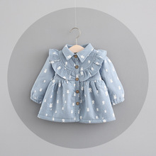 winter girls dress baby wear cotton padded rabbit lace cardigan dress children clothes(China)