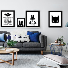 Cute Cartoon Batman Super Rabbit Canvas Painting Art Print Poster Picture Wall Modern Home Decor Child Baby Bedroom Decoration(China)