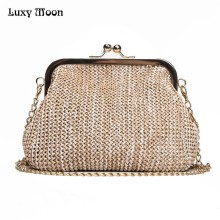Luxy Moon Handmade Straw Clutch Tote Vintage Women Evening Bag Party Purse Wallet Beach Handbag Chain Lady Messenger Bag ZD784(China)