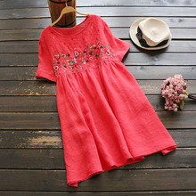 Women's summer cute dress retro old style cotton short sleeve dress doll cute embroidered flowers mini dress linen loose dress(China)
