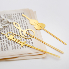 8 pcs/Lot Instrument style bookmarks Music note book mark Gold plated Stationery office School supplies marcador de livros 6145