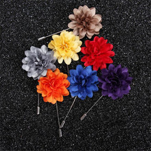 JINSE 10PCS Men Jewelry of Silk Flower Brooches Rose Cluster Floral Men Lapel Pins for Suits 14 Colors MD022(China)