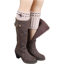 Women Girls Knitted Leg Warmers Crochet Socks Boot Cover Cuffs Toppers white Khaki Black Brown Beige Grey