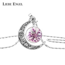 LIEBE ENGEL 9 Colors New Arrival Dried Flower Moon Pendant Glass Cabochon Long Silver Color Chain Maxi Statement Necklace Women(China)