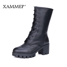 XAMMEP Women's Winter Shoes With Platform Brand Women Winter Boots Genuine Leather Natural Wool High Quality Mid Calf Boots(China)