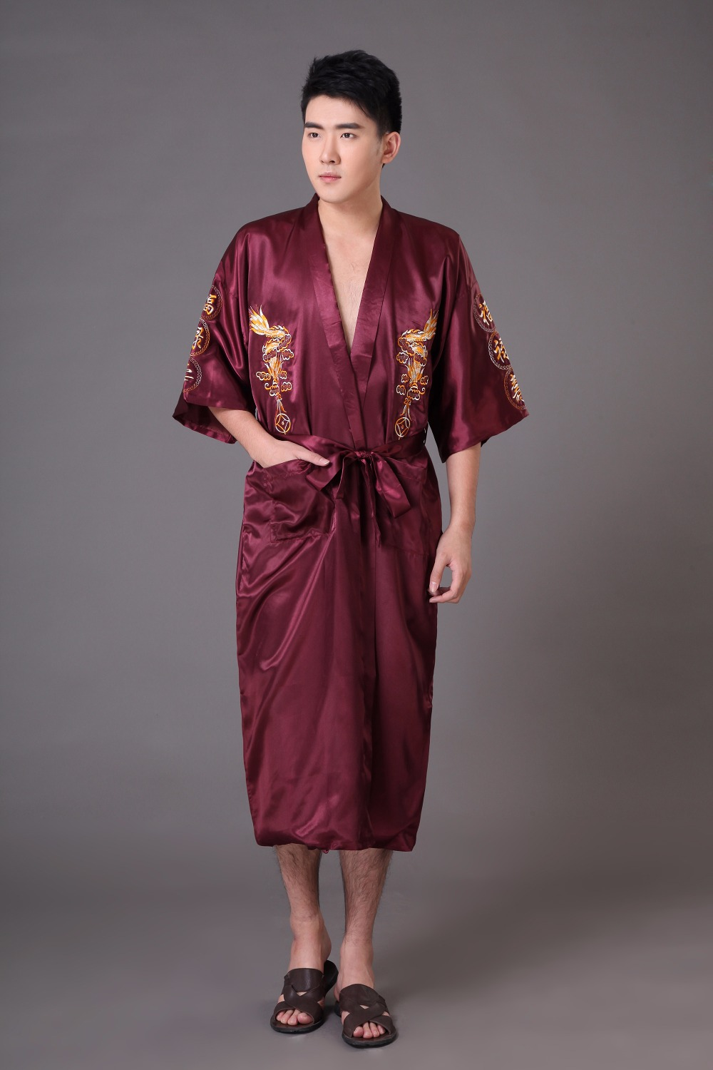32886df541ce7 Plus Size S-XXXL Chinese Traditional Men s Satin Robe Bath Gown ...