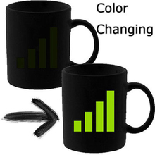 Free Shipping 4Pieces Personlity Ceramic Coffee Milk Tea Mug Phone Signal Color Changing Heat Sensitive Mugs And Cups  For GIFT