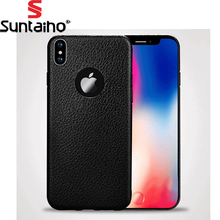 Suntaiho Retro TPU soft Silicon Fashion Phone Case For iPhone X Case Cover Luxury Back leather For iPhone X Black(China)