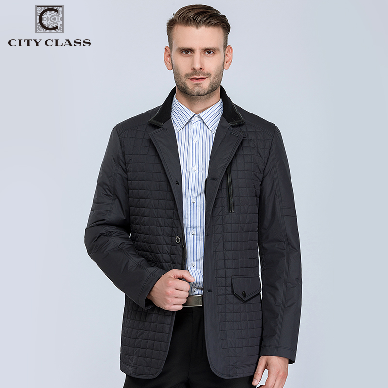 CITY CLASS New Spring Autumn Man Casual Jacket Fashion Slim Quilted coat Suit Stand Collar Jackets Business style for male 13021
