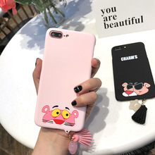 SZYHOME Phone Cases for IPhone 6 6s 7 Plus Case Cartoon Lovely Pink Leopard INS Celebrity for IPhone 7 Mobile Phone Cover Case
