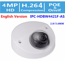 DaHua Original English Security IP Camera IPC-HDBW4421F-AS OEM 4MP WDR Vandalproof IR Wedge Dome CCTV Camera 2.8mm/3.6MM