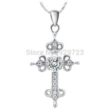 Cross Necklace Crystal Silver Perfume Women/Men Necklaces Pendants Jewerly Neckless Christmas Gift Cross Necklace(China)