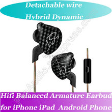 Latest Hifi Dynamic Dynamic Hybrid Balanced Armature Earbud Earphone for iPad iPhone Android PC Computer(China)