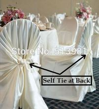 wholesale 10pcs satin universal chair cover for wedding SELF TIE CHAIR COVER FOR RESTAURANT(China)