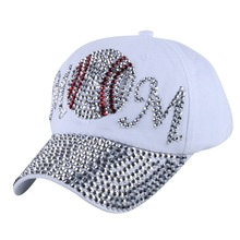 wholesale gorras new design MOM letter football style women girl female rhinestone snapback luxury casual baseball cap casquette(China)