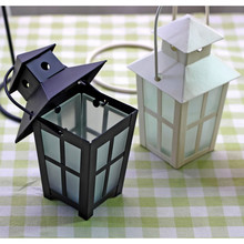 Vintage wedding Candle lanterns Glass Cover Craft Cube Candle Holder Articles White & Black iron Candlestick Hanging Light Decor(China)